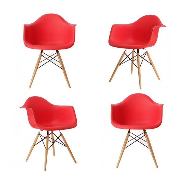 Contemporary Retro Molded Eames Style Red Accent Plastic Dining Armchair (Set of 4)