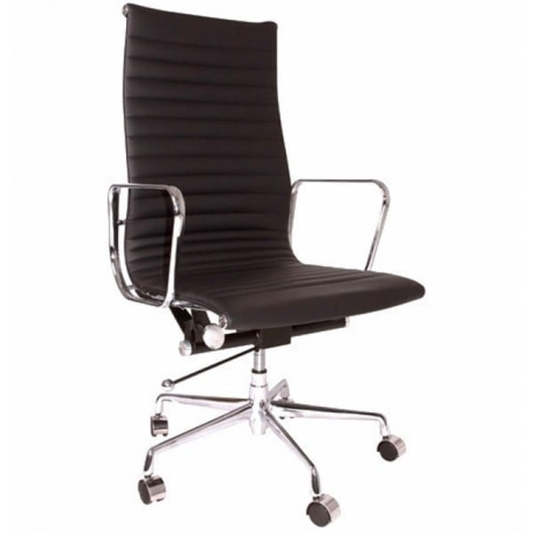 Contemporary Modern Eames Style Executive Black Top Grain Leather Designer High Office Chair
