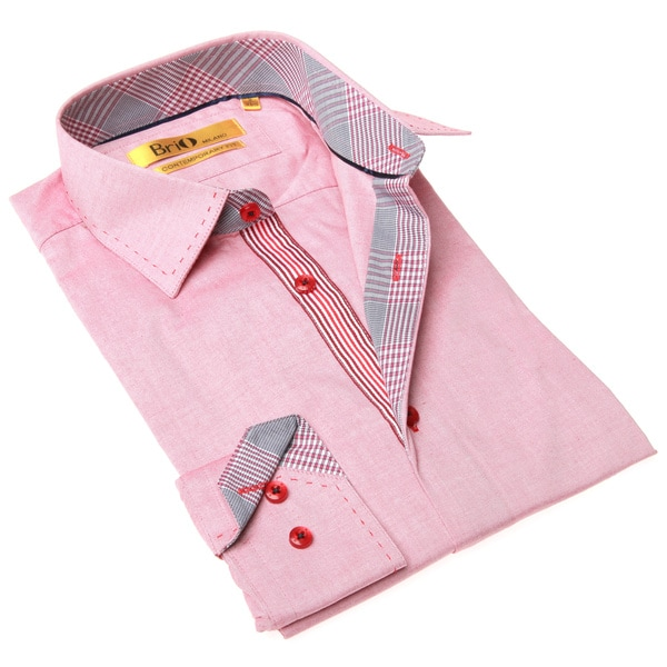 Brio Milano Men's Contemporary Fit Pink and Red Chambray Dress Shirt