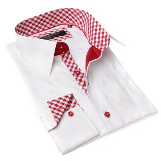 Coogi Luxe Men's White and Red Ginghman Trim Dress Shirt