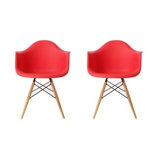 Contemporary Retro Molded Eames Style Red Accent Plastic Dining Armchair with Wood Eiffel Legs (Set of 2)