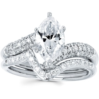 14k White Gold 1 1/2ct TDW Marquise Diamond Bridal Set (I-J, I1-I2)