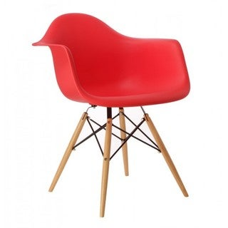 Contemporary Retro Molded Eames Style Red Accent Plastic Dining Armchair with Wood Eiffel Legs (Set of 1)