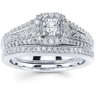 14k White Gold 3/4ct TDW Diamond Filigree Bridal Set (I-J, I1-I2)