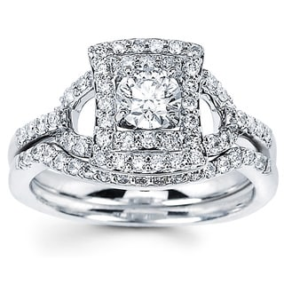 14k White Gold 7/8ct TDW Diamond Halo Bridal Set (I-J, I1-I2)