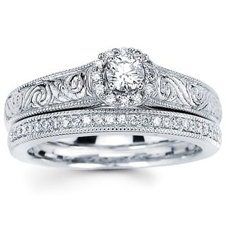 14k White Gold 3/8ct TDW Diamond Bridal Set (I-J, I1-I2)