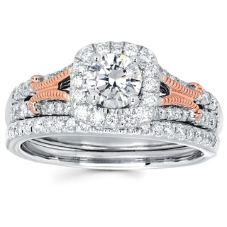 14k White Gold 1ct TDW Diamond Bridal Ring Set (I-J, I1-I2)