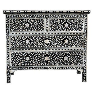 Black Recycled Mango Bone Four Drawer Chest