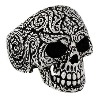 Sterling Silver Mandala Floral Skull Ring