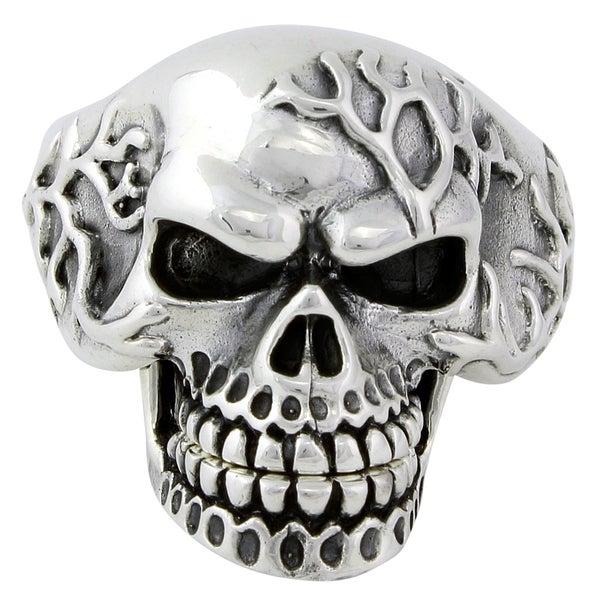 Sterling Silver Electro Skull with Movable Jaw Ring