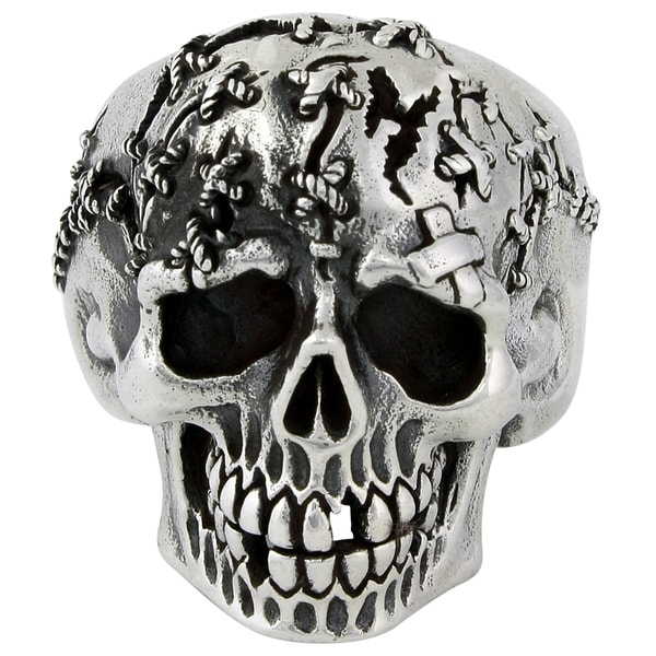 HellFire Sterling Silver Frankenstein Death Skull Ring
