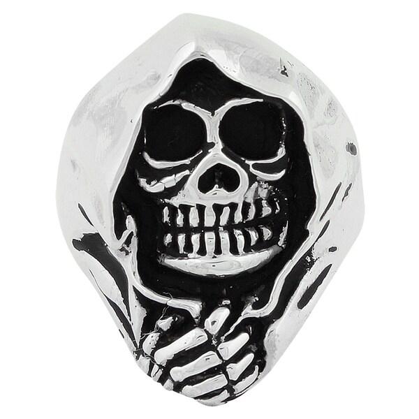 HellFire Sterling Silver Grim Reaper Death Skull Ring