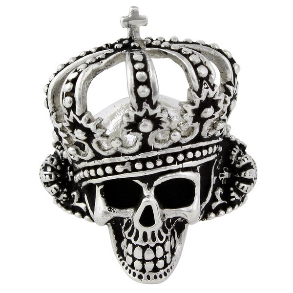 HellFire Sterling Silver King of Hell Skull Ring