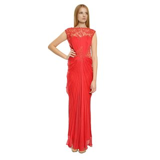Tadashi Shoji Illusion Vine Beaded Chiffon Draped Evening Gown Dress