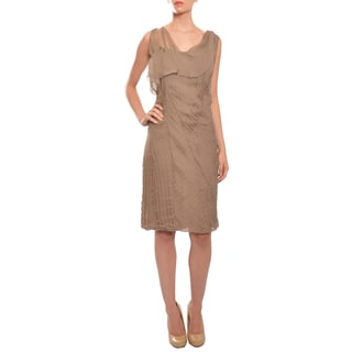 Christian Dior Mocha Silk Chiffon Asymmetric Cocktail Evening Dress