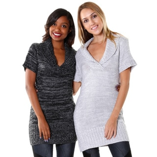 Hadari Women's Folded-collar Tunic Dress (Set of 2)