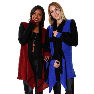 Hadari Women's Colorblocked Waterfall Cardigan (Set of 2)