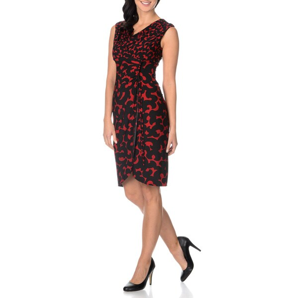London Times Women's Extended Shoulder Faux Wrap Dress