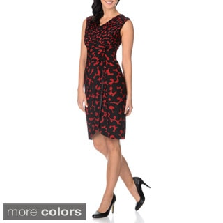 London Times Women's Extended Shoulder Faux Wrap Dress