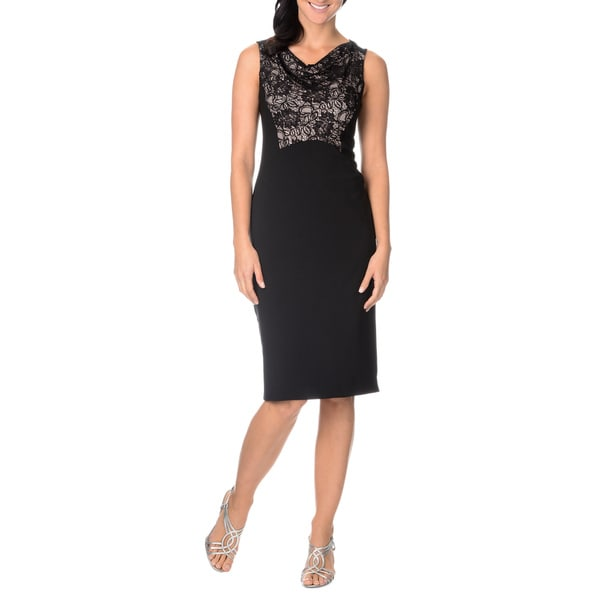 London Times Women's Sleeveless Lace Front Sheath Dress