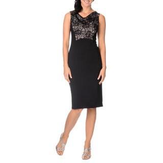 London Times Women's Sleeveless Lace Front Sheath Dress