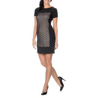 London Times Women's Checkered Mesh Front Dress