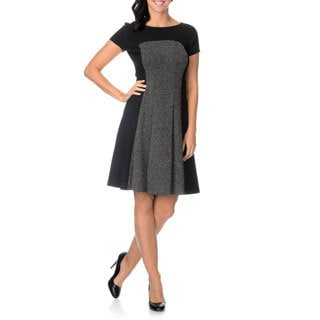 London Times Women's Fit and Flare Contrast Panel Dress