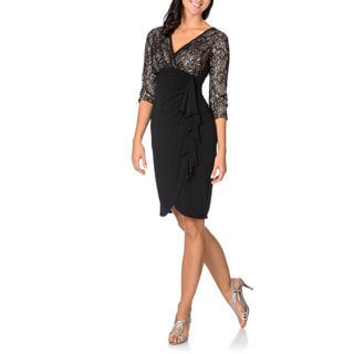 London Times Women's Black Faux Wrap Dress