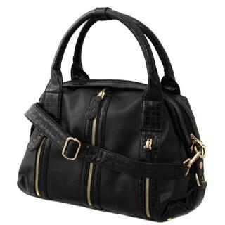 Hang Accessories Glam Black Textured Braid Handbag