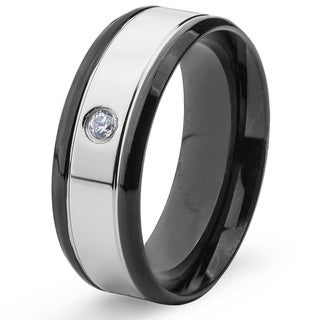 Blackplated Stainless Steel Men's High Polished Cubic Zirconia Band Ring