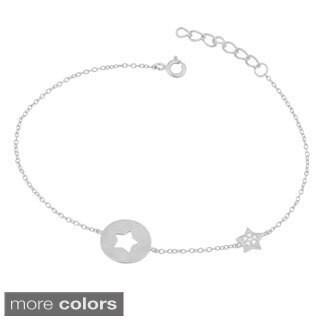Fremada Gold Over Sterling Silver Cubic Zirconia Cut-out Star Adjustable Bracelet