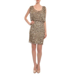 Aidan Mattox Mink Shining Sequin Blouson Cocktail Party Dress