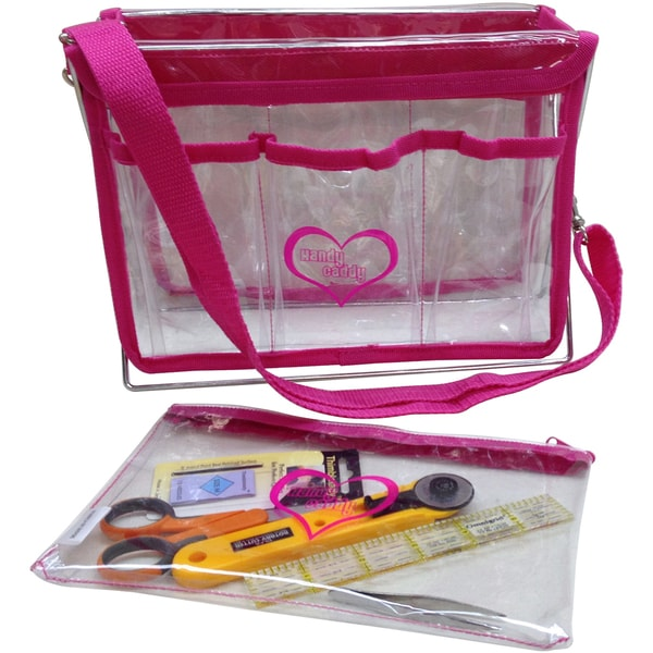 "Handy Caddy W/Strap And Zipper Project Bag 8""x11""x5""-Hot Pink"