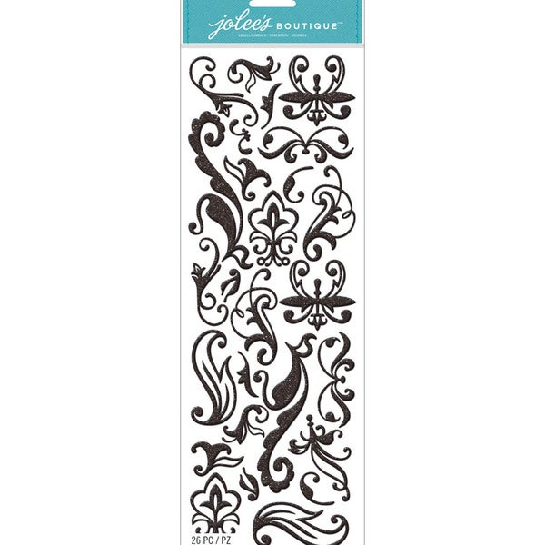 Jolee's Boutique Stickers-Black Large Glitter Swirls