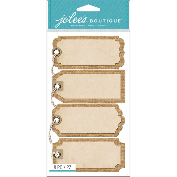 Jolee's Boutique Tags W/Twine Stickers-Burlap Tags