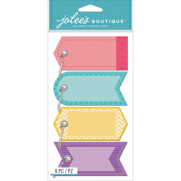 Jolee's Boutique Tags W/Twine Stickers-Color Tags