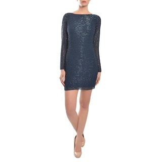Aidan Mattox Navy Bateau Sequin Striped Cocktail Evening Dress