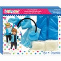Springfield Collection Winter Set-Blue Polka Dot Vest And White Fur Boots