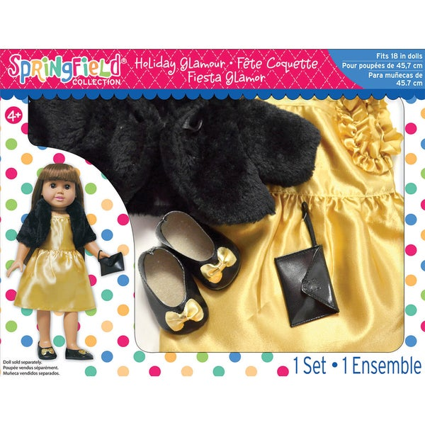 Springfield Collection Holiday Glamour Gift Set-Gold Dress And Black Shrug