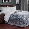 Lavish Home Soft Plush Botanical Print Blanket with Sherpa Backing