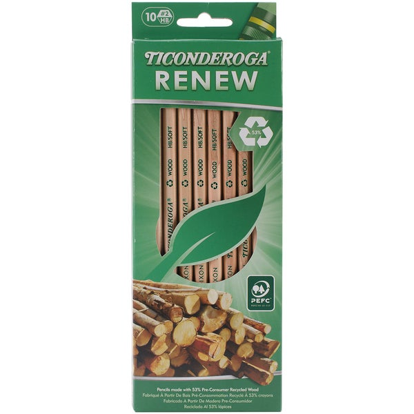Ticonderoga Renew Recycled #2 Pencils 10/Pkg-Natural