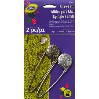 Metal Engraved Vintage Flower Shawl Pin-Pewter & Nickel