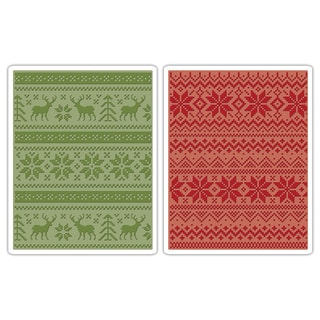 Sizzix Texture Fades A2 Embossing Folders 2/Pkg-Holiday Knits By Tim Holtz
