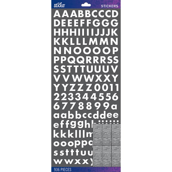 Sticko Alphabet Stickers-White Futura Bold