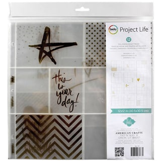 """Project Life Photo Pocket Pages 12""""X12"""" 12/Pkg-Heidi Swapp -Gold Foil W/Stickers"""