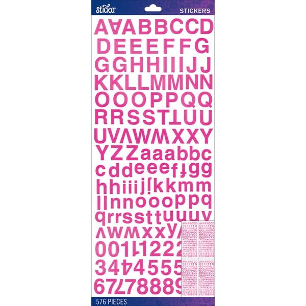 Sticko Alphabet Stickers-Pink Foil Helvetica Standard
