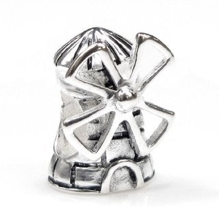 Queenberry Sterling Silver Dutch Windmill European Bead Charm