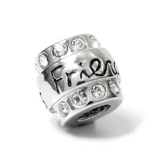Queenberry Sterling Silver CZ Friends Barrel European Bead Charm