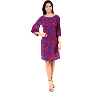 24/7 Comfort Apparel Women's Red and Maroon Scroll Print Dress