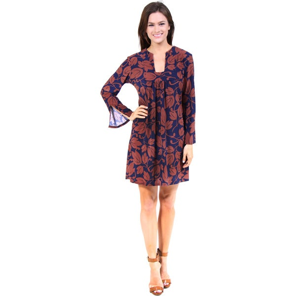 24/7 Comfort Apparel Women's Blue and Brown Relaxed Fit Dress